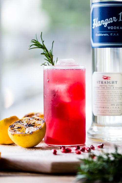 Hangar One Rosemary, Pomegranate & Grilled Meyer Lemon Sparkler Recipe